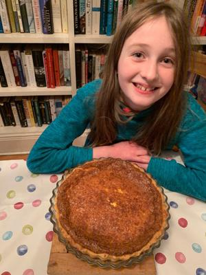 Home baking: Lilah with her first quiche