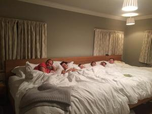 Extended sleep: the Constable family relax in their 18ft bed