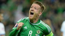 Steve Davis, Northern Ireland, celebrates after scoring for Northern Ireland