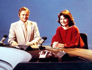 Martyn Lewis and Pamela Armstrong together on ITN's News at Ten