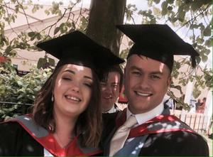 Anthony Miller on graduation day with friend Rhiannon Frost