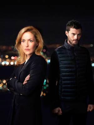 Jamie Dornan as Paul Spector and Gillian Anderson as DSI Stella Gibson in the TV thriller The Fall