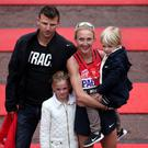 Happy family: Paula with husband Gary and children Isla and Raphael