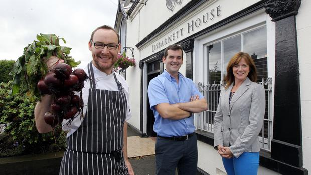 Chef Danny Millar and Ronan and Jennie Sweeney after the couple bought Lisbarnett House in September 2012