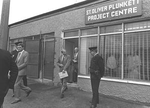 Sir Richard Needham in Northern Ireland in the late 80s visiting St Oliver Plunkett community centre