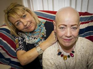 Starting over: alopecia sufferer Paula Kyle before her treatment with pal Rosie Doherty from the Galliagh Women's Group