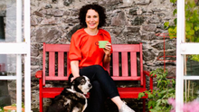 Jane McClenaghan at home with her dog Cassie