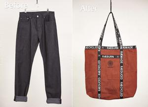Positive action: upcycling an old pair of jeans into a tote bag