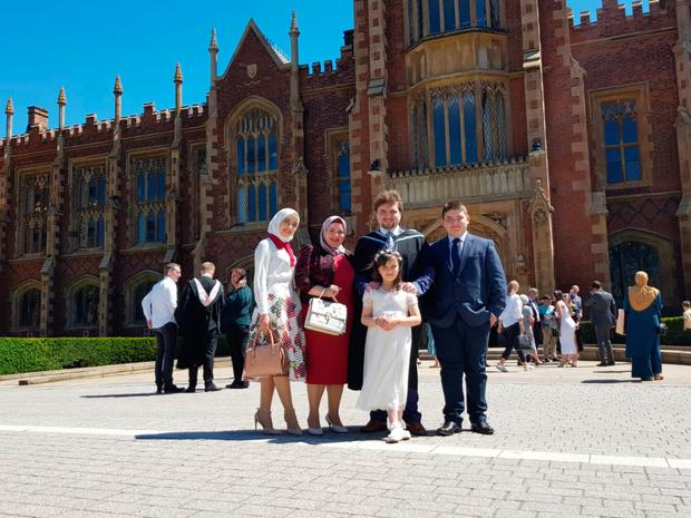 Proud day: Ihsan Baleed celebrates with his mother Abir, sisters Salam (far left) and Nadin and brother Hamza