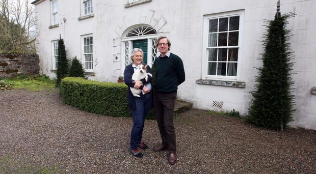 Manor born: Nicola and James Manningham-Buller outside Ballymote House, with their dog Nia