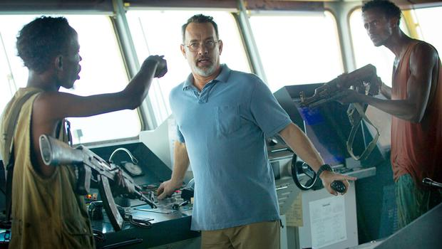 Tom Hanks in Captain Philips with Barkhad Abdi and Faysal Ahmed