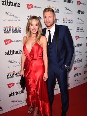 Proud parents: Freddie Flintoff with wife Rachael