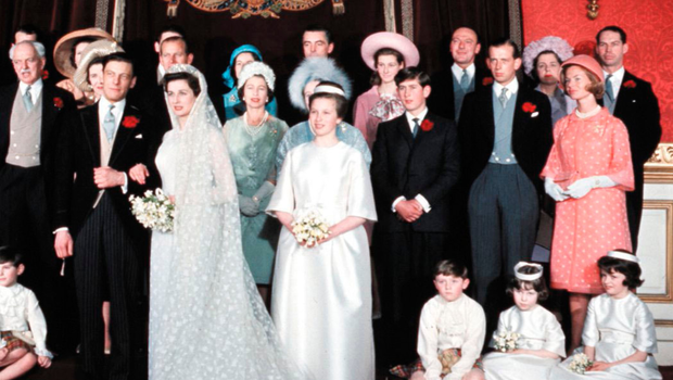 Royal approval: Princess Alexandra with her husband Angus Ogilvy and their bridal party