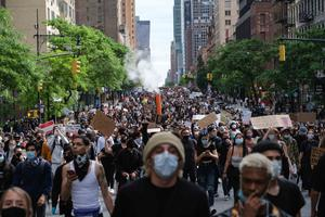 Protesters in New York over the death of George Floyd who died after he was pinned at the neck by a Minneapolis police officer