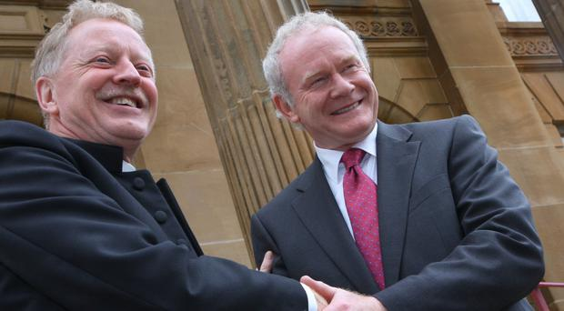 Rev Dr David Latimer welcomes the then Deputy First Minister Martin McGuinness to First Derry Presbyterian Church