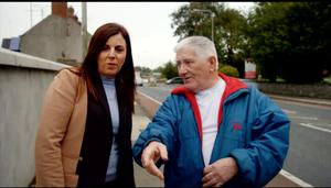 Helen Ward meets lorry driver Donal Vaughan at the spot where he found her as a baby 44 years ago