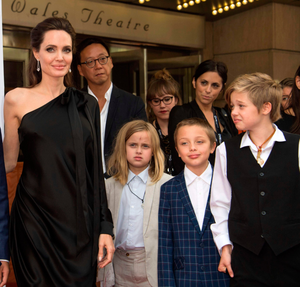 Angelina Jolie with children (from left) Vivienne Marcheline, Knox Leon and Shiloh Nouvel