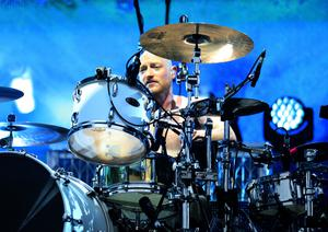 Ben on the drums on stage in Glasgow