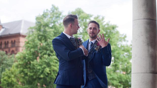 Samuel Shannon-Anderson civil ceremony pics - he is the one with no beard. And also one of he and Adrian when he is Alexis Cox