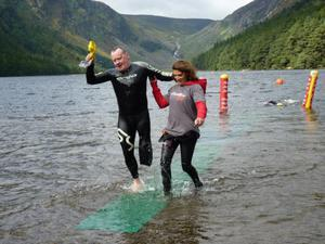 David coming out of the water at Glendalough with a marshall