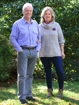 Staying positive: Noel Thompson (also left) with his wife Sharon