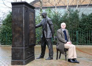 Iconic history: Alex Kane beside 'The Searcher' CS Lewis Wardrobe statue at Holywood Arches