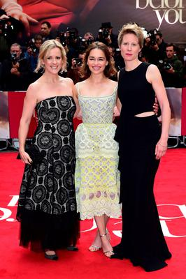 From left: Me Before You author Jojo Moyes, star Emilia Clarke and director Thea Sharrock at the film's premiere