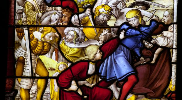 Festive lore: stained glass shows the Massacre of the Innocents