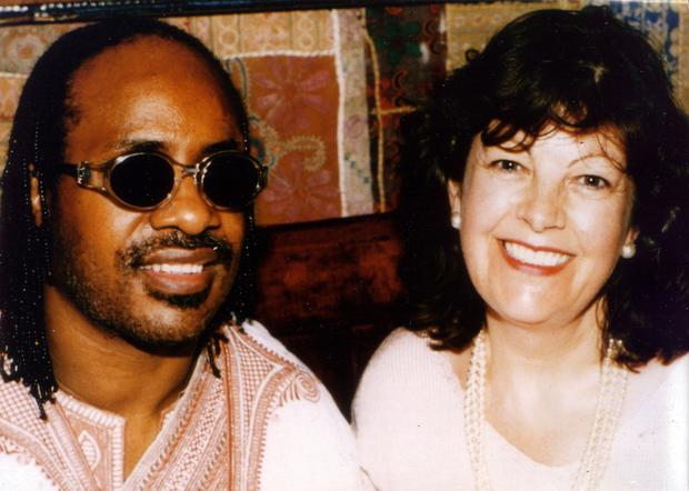 Star appeal: Jenny Cathcart with Stevie Wonder