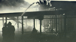 Horrendous scene: firefighters tackle the blaze following the La Mon hotel bombing in February, 1978