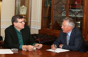 Memorable moments: Liam interviewing former First Minister Peter Robinson