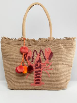 America & Beyond Hand Embroidered Lobster Structured Beach Bag, £40, ASOS