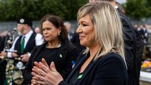 Sinn Fein leader Mary Lou McDonald (left) and Michelle O'Neill at Bobby Storey's funeral. Photo: Liam McBurney/PA Wire