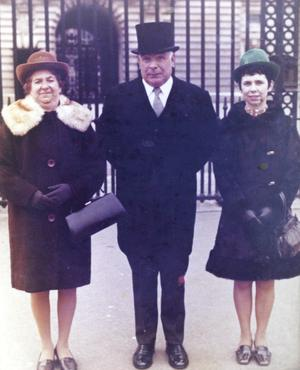 Jonathan's great-grandfather William Hamill with wife Hazel and daughter Agnes receiving the Queen's Gallantry Medal at Buckingham Palace
