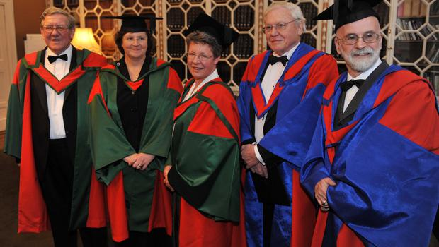 From left: David P Farrington, Dame Ann Dowling, Dame Jocelyn Bell Burnell, broadcaster Sir David Attenborough and Terry Pratchett. All five received Hononary degrees from Trinity College, Dublin