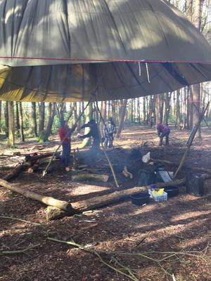 Declan and fellow adventurers learn how to make a camp fire and set up camp