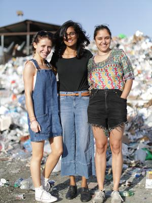 Chloe with co-presenter Queenie and Shilpi Chhotray from Break Free From Plastic, an organisation that looks at plastic waste and recycling in San Francisco.