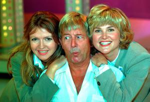 The young Anthea with former Blue Peter presenters Caron Keating and John Noakes