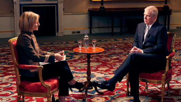 Prince Andrew being interviewed by Emily Maitlis