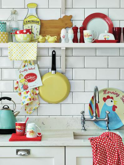 Retro sign, tray, clock mugs and tea towel - all George Home