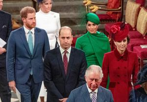 Royal split: Harry and Meghan arriving at Westminster Abbey behind William and Kate at the Commonwealth Day service