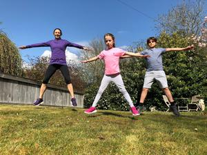 Jump to it: Jo Pavey exercising with her children Emily and Jacob
