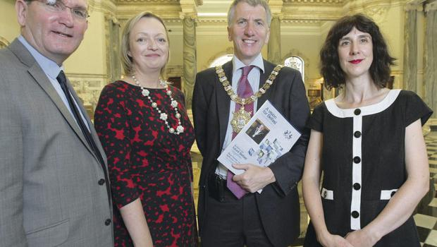 Dr Sinead Morrissey with Damian Smyth, Head of Literature and Drama at the Arts Council, Mary Trainor-Nagele, Arts & Business, and Lord Mayor Máirtín Ó Muilleoir at the announcement that Sinead was to be Belfast city's first ever Poet Laureate