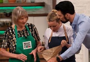 Contestant Jean, chef Anna and host Rylan
