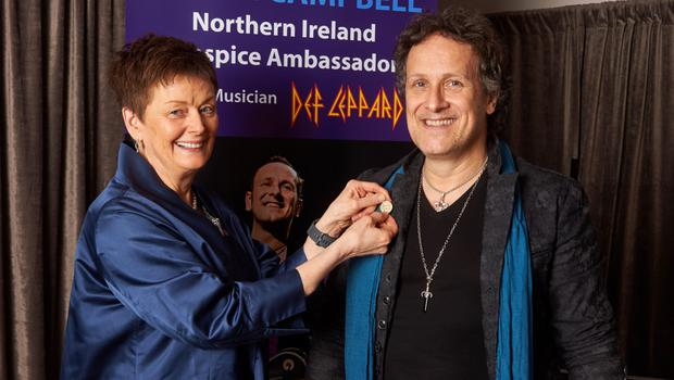Vivian as an ambassador for the Northern Ireland Hospice Association with chair of trustees Margaret Butler