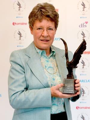 Dame Jocelyn Bell Burnell with her Prudential Lifetime Achievement Award at the Women of the Year Awards 2015