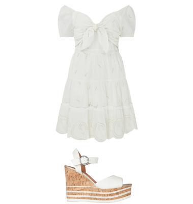 Dress, £46, wedges, £50, River Island