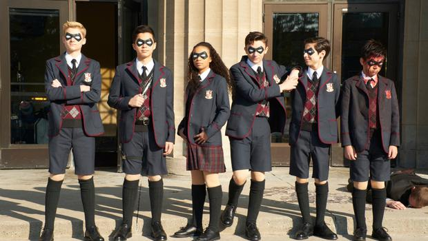 Dysfunctional family: from left, Cameron Brodeur, Blake Talabis, Eden Cupid, Dante Albidone, Aidan Gallagher and Ethan Hwang in The Umbrella Academy