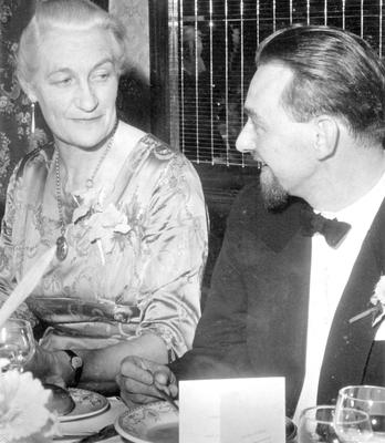 Prominent figure: Janet McNeill with D Tudor-Dicker at a function in 1962