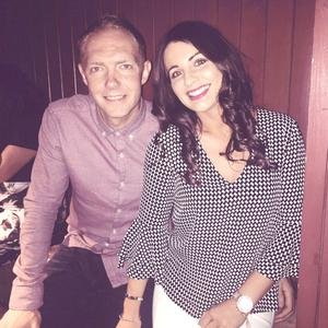All smiles: Rhianne and fiance Ross enjoy a night out